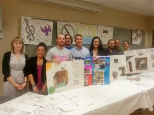 FGCU Students and Vince Smith Center Staff display artwork created by the Vince Smith Center residents.