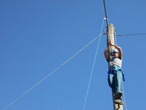 Man on ropes course
